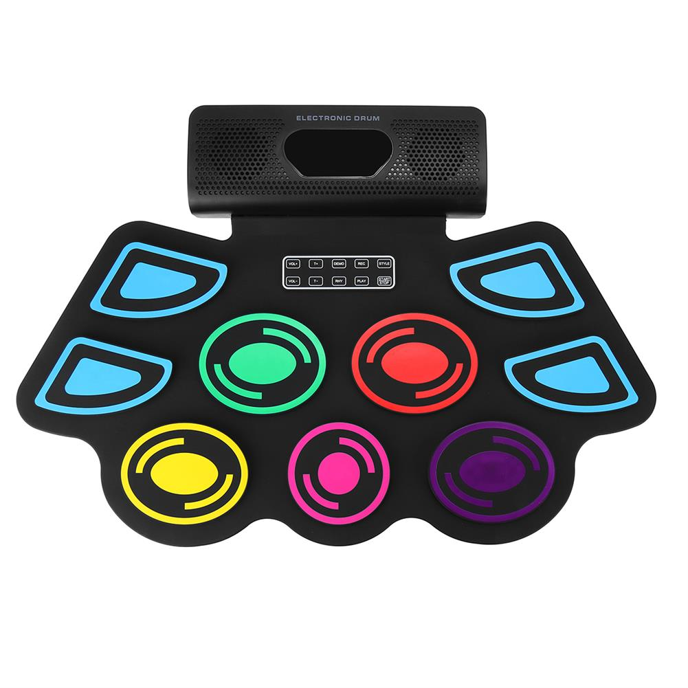 electronic-drums 9 Pads Electronic BT Roll-Up Drum Set 9 Volumes Speed Adjustable Silicone Drum Pads with Tone Tuning and Recording Function HOB1840504
