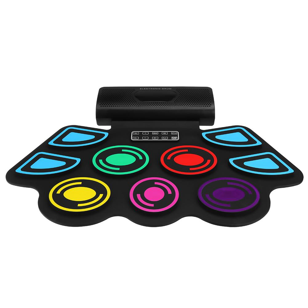 electronic-drums 9 Pads Electronic BT Roll-Up Drum Set 9 Volumes Speed Adjustable Silicone Drum Pads with Tone Tuning and Recording Function HOB1840504 1