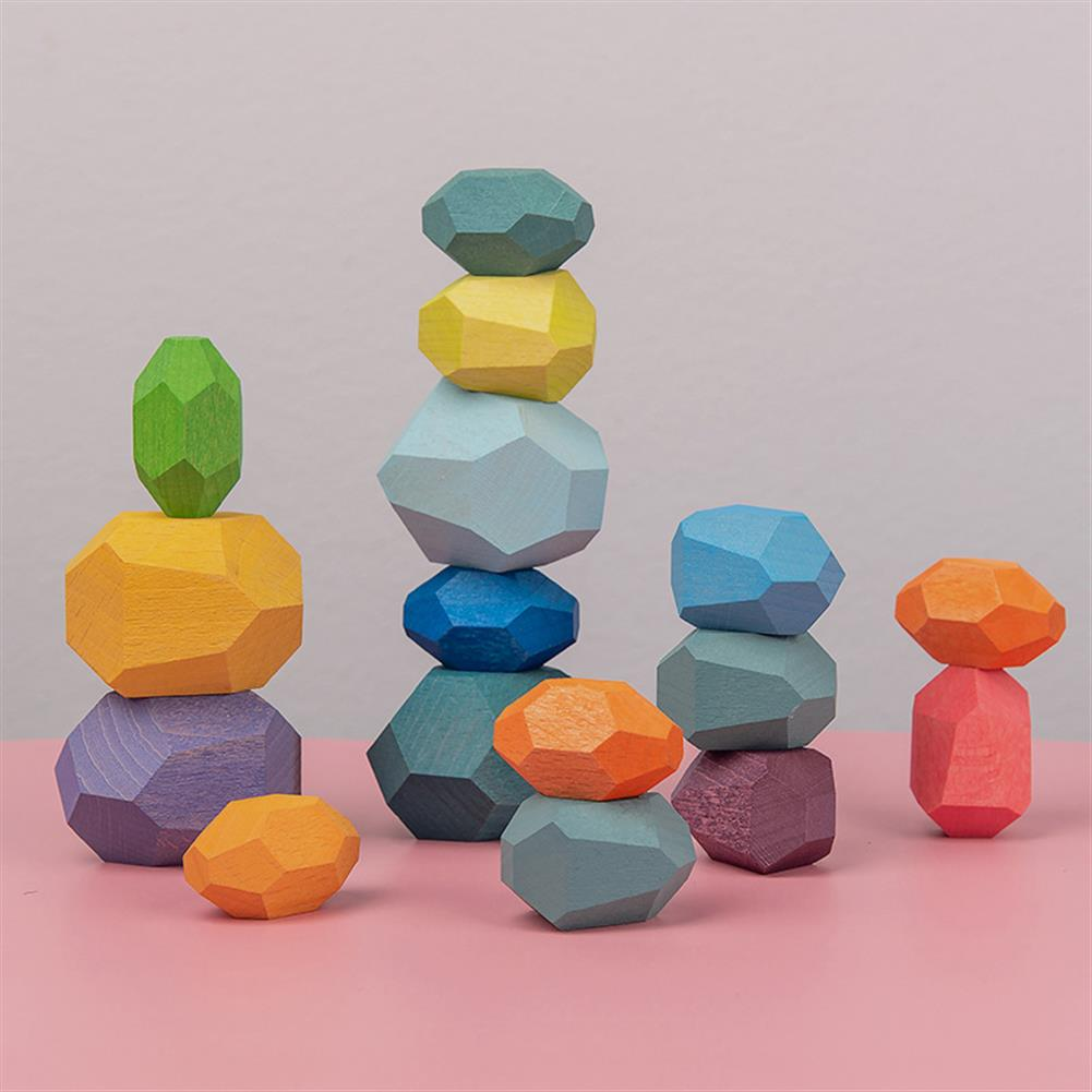 sorting, nesting-stacking-toys Educational Wooden Colored Stone Building Block Toy Creative Nordic Style Stacking Game Rainbow Wooden Toy Gift HOB1840521