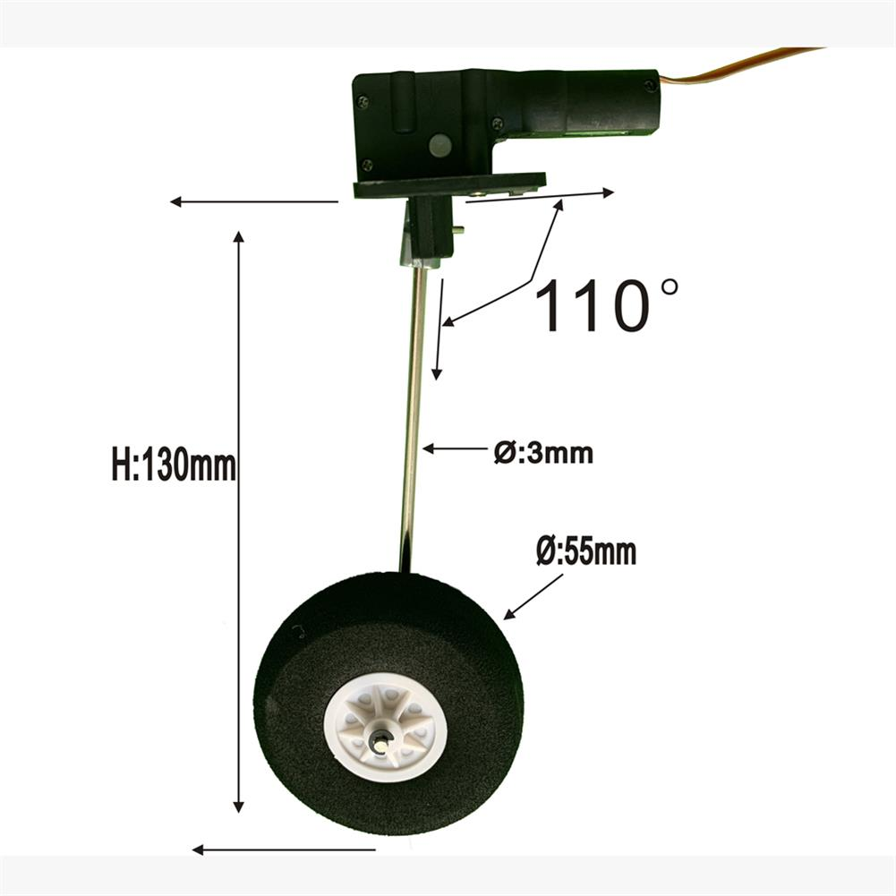 rc-airplane-parts 1 Pair 90 Degree 25g Worm-type Retractable Landing Gear with Wheels for RC Airplane Fixed Wing Warbird HOB1840557 1