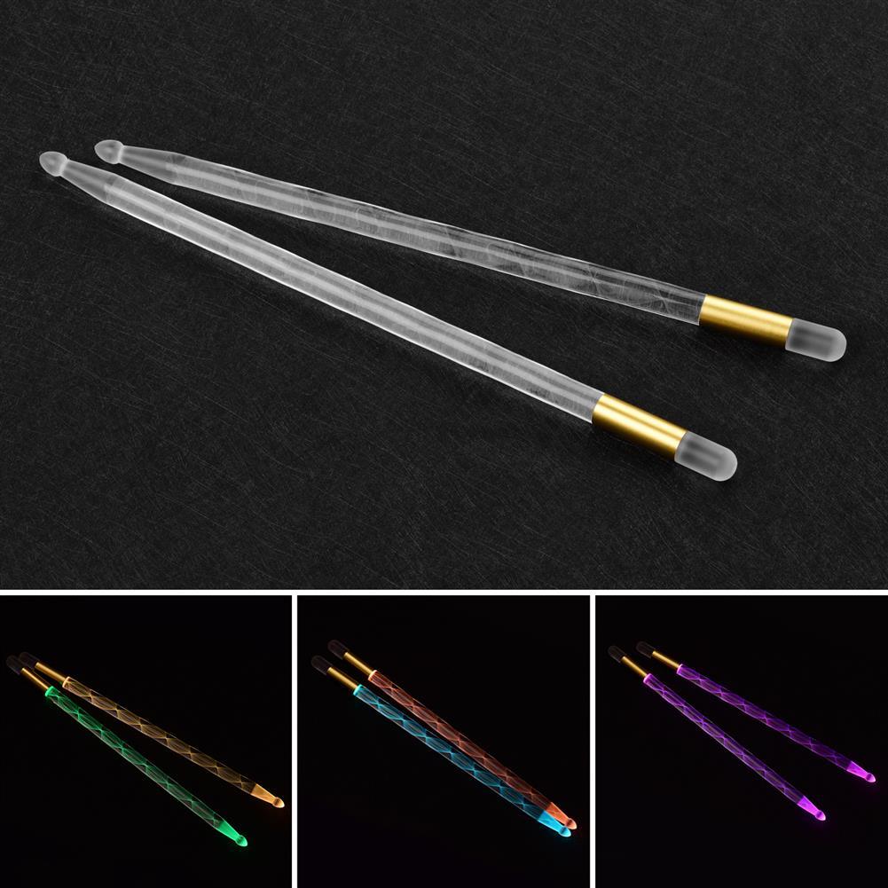 percussion-accessories 1 Pair LED Light Up Drum Sticks Luminous Bright Drumsticks Color Changing Drumsticks Drum Set Accessories HOB1841071