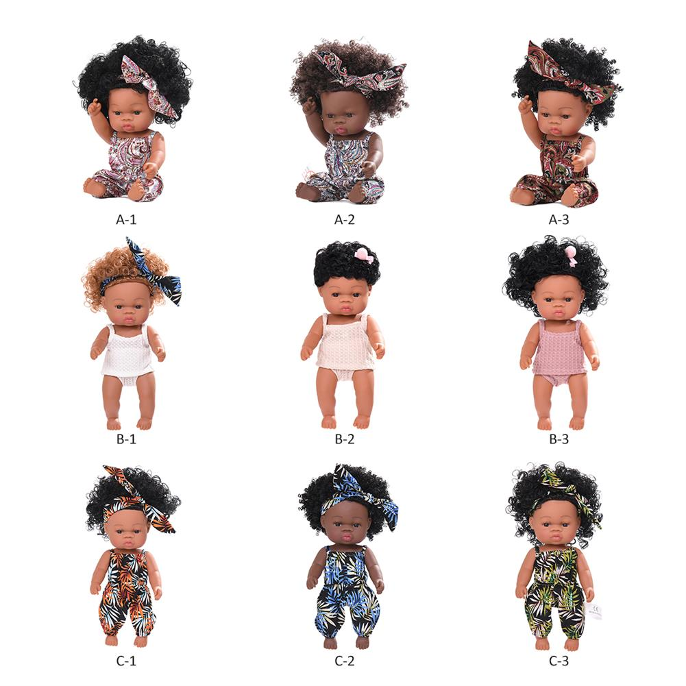 dolls-action-figure Black Baby Dolls Soft Silicone Vinyl Play Toy infant Reborn Handmade Doll Lifelike Newborn Gift HOB1841774