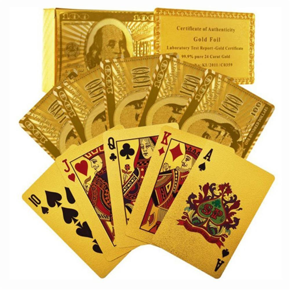 puzzle-game-toys Certified Pure 24 Carat Gold Foil Plated Poker Cards Perfect Gift HOB915279