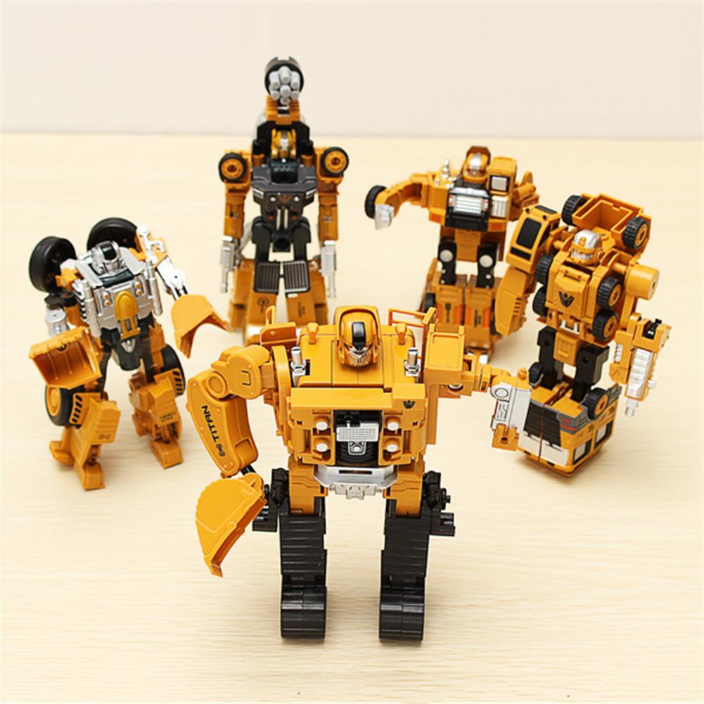 dolls-action-figure Metal Truck Hercules 5 in 1 Combination Robot Excavator Crane Vehicle Transformable Toys HOB953808